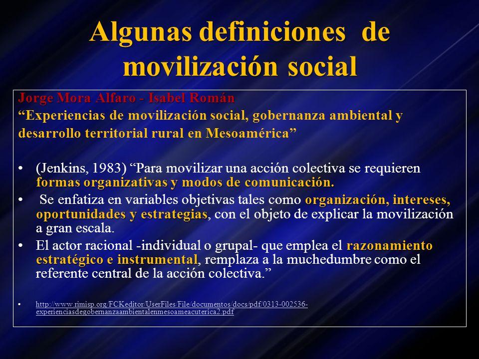 Algunas definiciones de movilización social Jorge Mora Alfaro - Isabel Román Experiencias de movilización social, gobernanza ambiental y desarrollo te