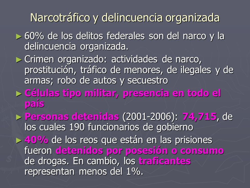 Narcotráfico y delincuencia organizada 60% de los delitos federales son del narco y la delincuencia organizada. 60% de los delitos federales son del n