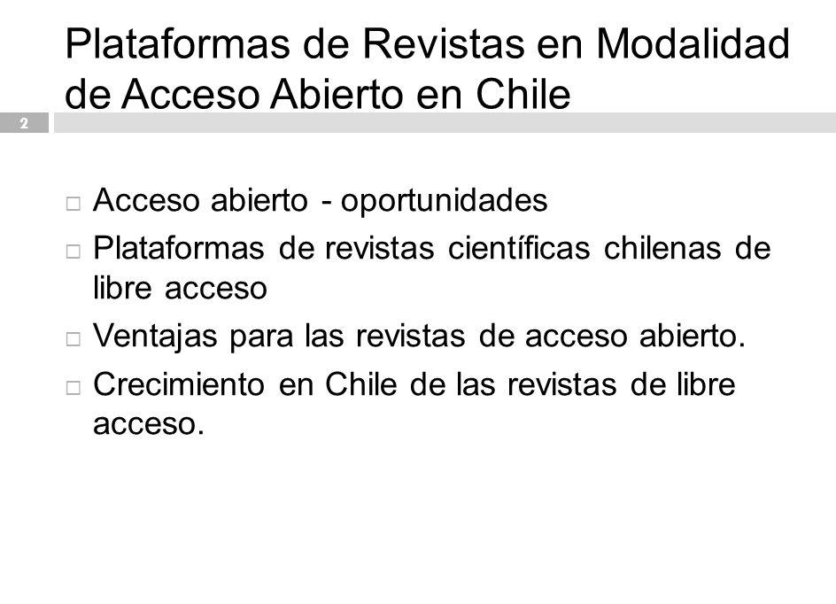 13 Plataformas de acceso abierto en Chile