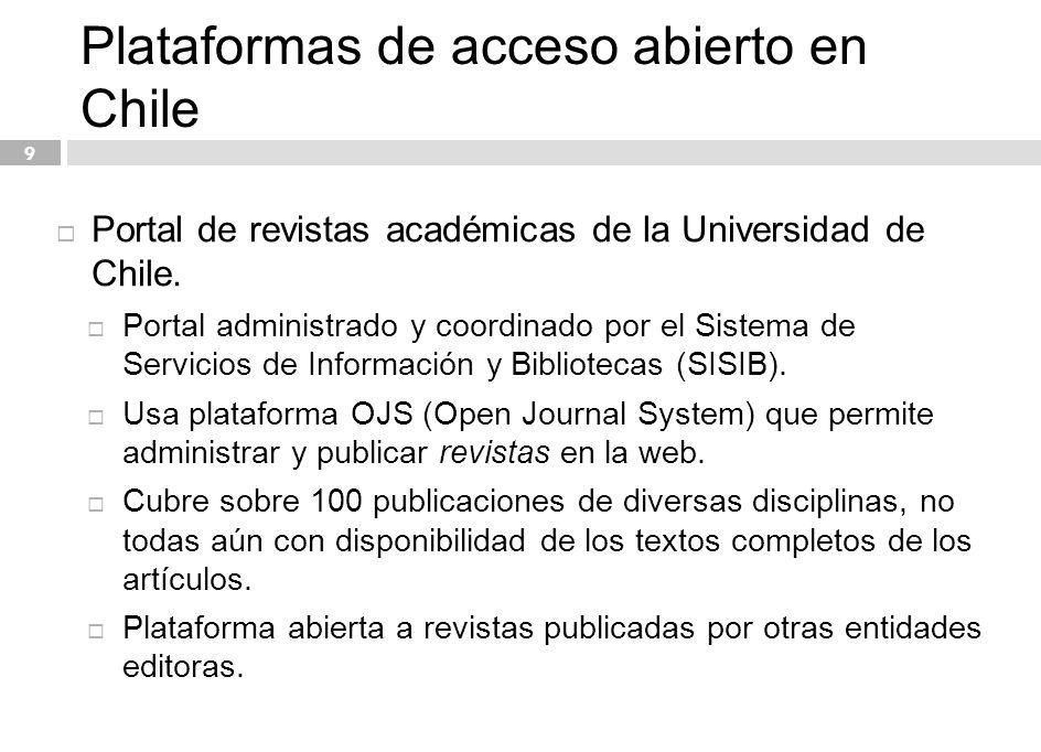 Plataformas de acceso abierto en Chile Directrices de calidad.