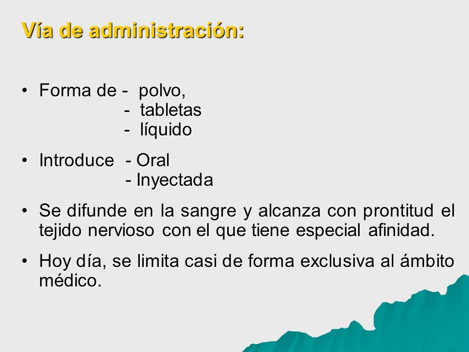 Vía de administración: Forma de - polvo, - tabletas - líquidoForma de - polvo, - tabletas - líquido Introduce - Oral - InyectadaIntroduce - Oral - Iny