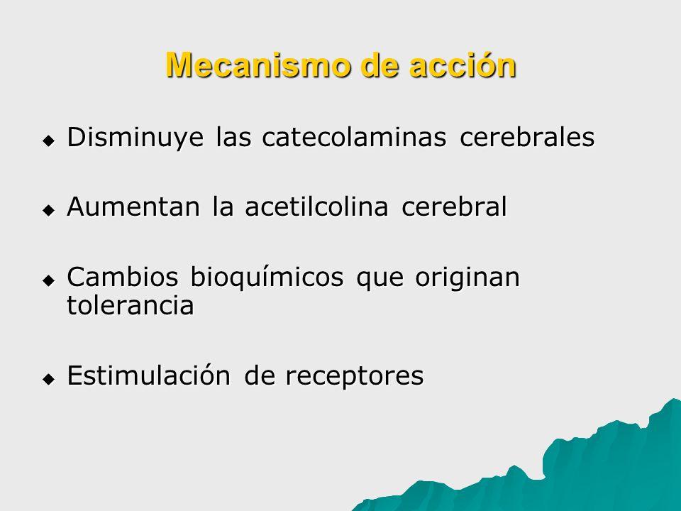 Mecanismo de acción Disminuye las catecolaminas cerebrales Disminuye las catecolaminas cerebrales Aumentan la acetilcolina cerebral Aumentan la acetil