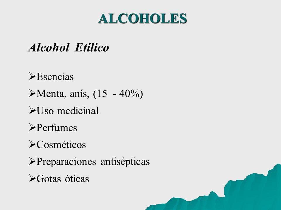 ALCOHOLES Alcohol Etílico Esencias Menta, anís, (15 - 40%) Uso medicinal Perfumes Cosméticos Preparaciones antisépticas Gotas óticas