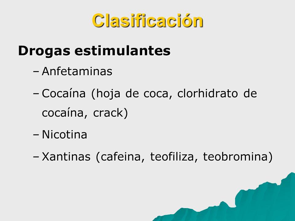 Clasificación Drogas estimulantes –Anfetaminas –Cocaína (hoja de coca, clorhidrato de cocaína, crack) –Nicotina –Xantinas (cafeina, teofiliza, teobrom