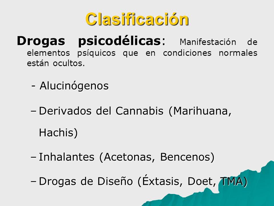 Clasificación Drogas psicodélicas: Drogas psicodélicas: Manifestación de elementos psíquicos que en condiciones normales están ocultos. - Alucinógenos