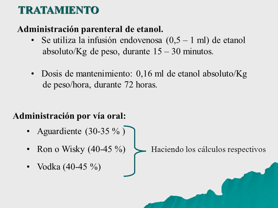 Administración por vía oral: Aguardiente (30-35 % ) Ron o Wisky (40-45 %) Haciendo los cálculos respectivos Vodka (40-45 %) TRATAMIENTO Administración