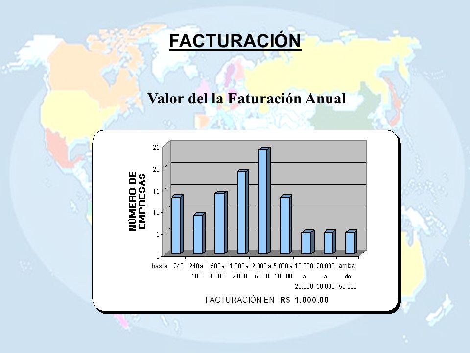 FACTURACIÓN Valor del la Faturación Anual FACTURACIÓN EN hasta arriba