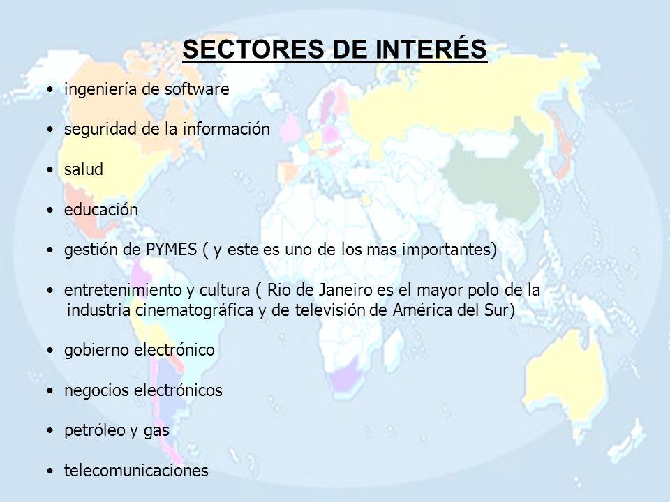 SECTORES DE INTERÉS ingeniería de software seguridad de la información salud educación gestión de PYMES ( y este es uno de los mas importantes) entretenimiento y cultura ( Rio de Janeiro es el mayor polo de la industria cinematográfica y de televisión de América del Sur) gobierno electrónico negocios electrónicos petróleo y gas telecomunicaciones