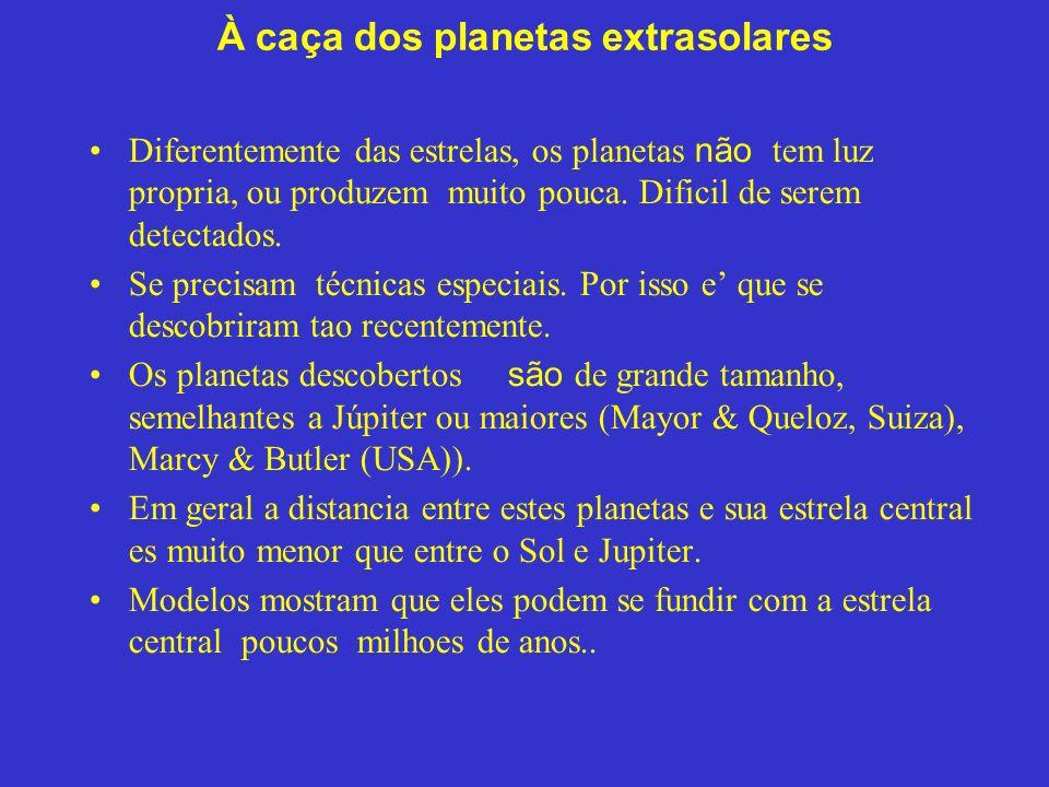 À caça dos planetas extrasolares Diferentemente das estrelas, os planetas não tem luz propria, ou produzem muito pouca.