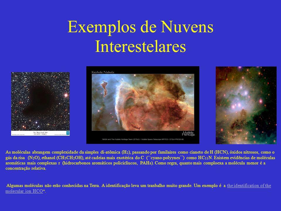 Exemplos de Nuvens Interestelares As moléculas abrangem complexidade da simples di-atômica (H 2 ), passando por familaires como cianeto de H (HCN), óxidos nitrosos, como o gás da risa (N 2 O), ethanol (CH 3 CH 2 OH), até cadeias mais exotérica do C (``cyano-polyynes´´) como HC 11 N.