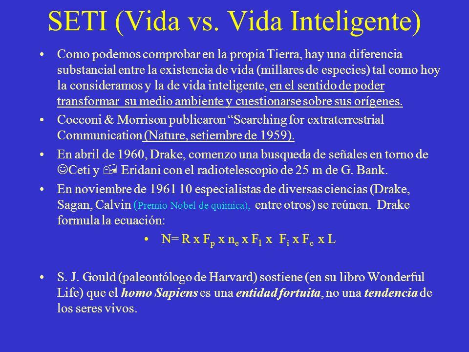 SETI (Vida vs. Vida Inteligente) Como podemos comprobar en la propia Tierra, hay una diferencia substancial entre la existencia de vida (millares de e