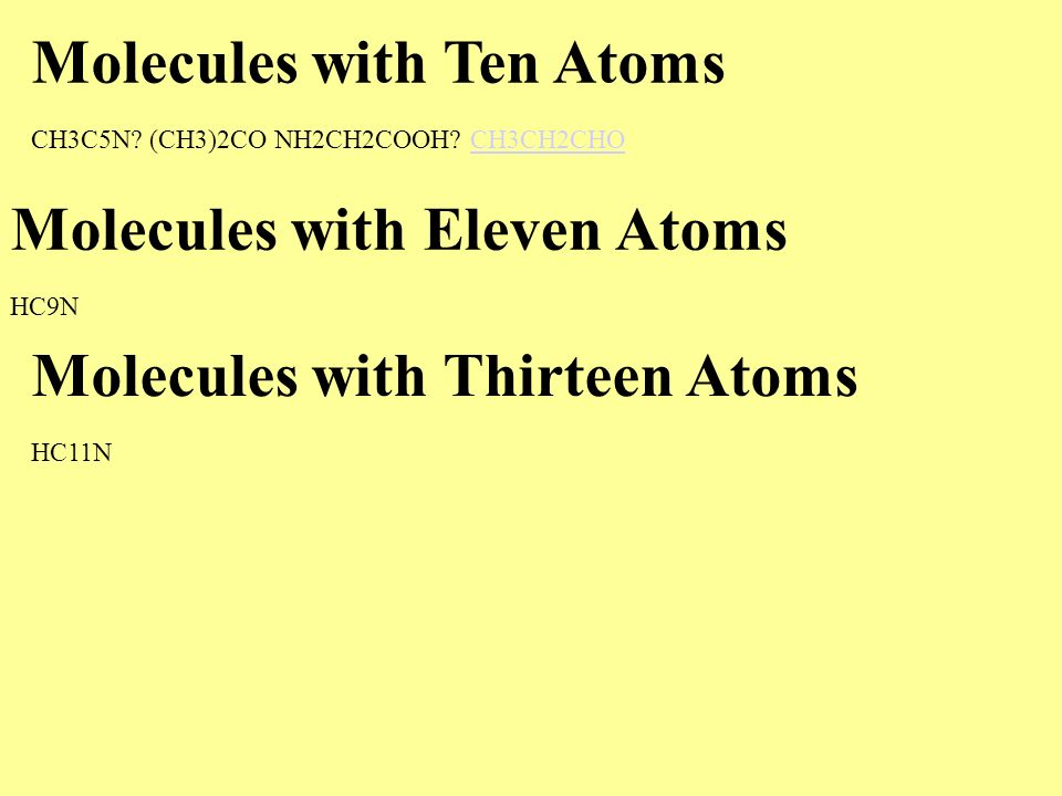 Molecules with Ten Atoms CH3C5N? (CH3)2CO NH2CH2COOH? CH3CH2CHOCH3CH2CHO Molecules with Eleven Atoms HC9N Molecules with Thirteen Atoms HC11N
