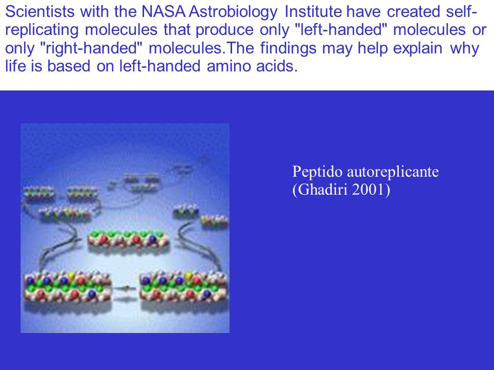Scientists with the NASA Astrobiology Institute have created self- replicating molecules that produce only