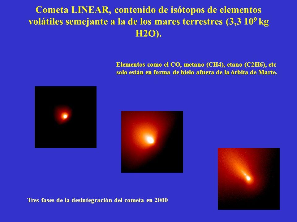 Cometa LINEAR, contenido de isótopos de elementos volátiles semejante a la de los mares terrestres (3,3 10 9 kg H2O).