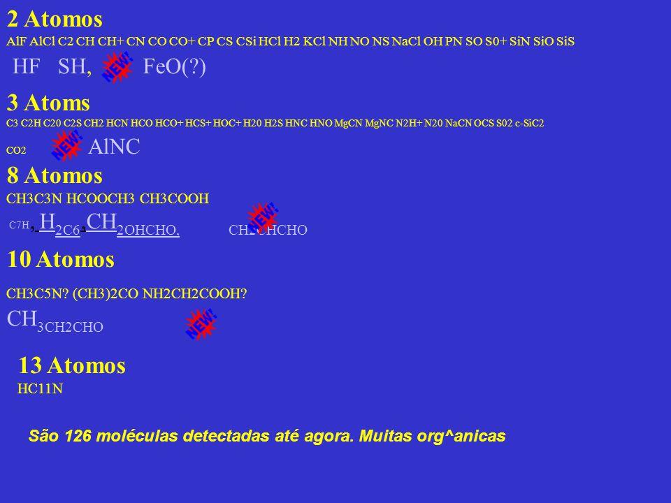 2 Atomos AlF AlCl C2 CH CH+ CN CO CO+ CP CS CSi HCl H2 KCl NH NO NS NaCl OH PN SO S0+ SiN SiO SiS HF SH, FeO(?) 8 Atomos CH3C3N HCOOCH3 CH3COOH C7H, H 2C6,CH 2OHCHO, CH2CHCHO 10 Atomos CH3C5N.