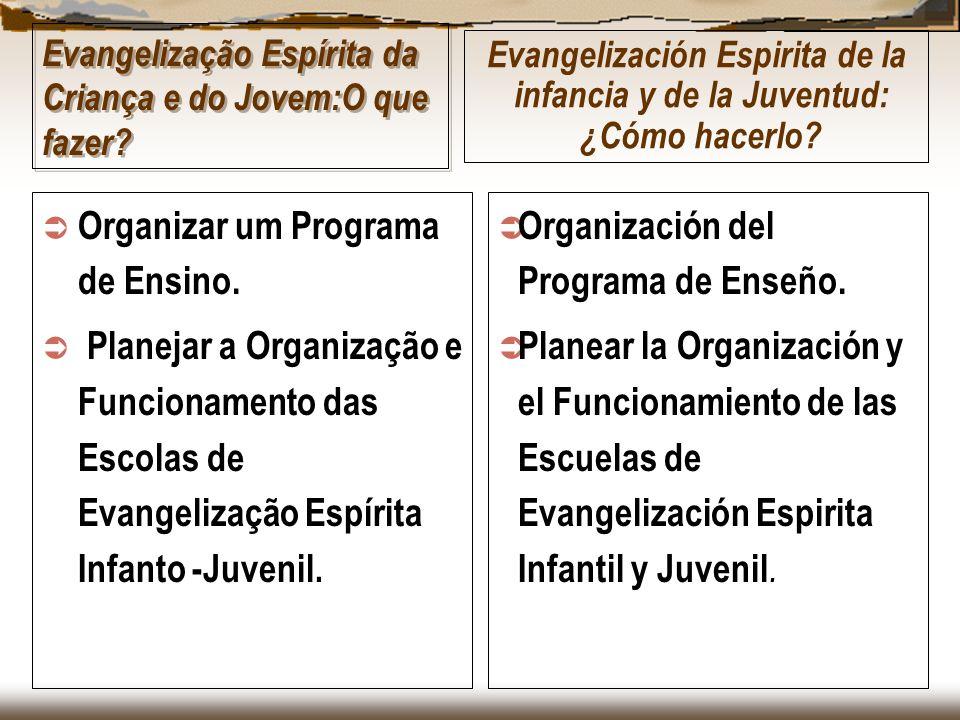 Evangelização Espírita da Criança e do Jovem:O que fazer? Organizar um Programa de Ensino. Planejar a Organização e Funcionamento das Escolas de Evang