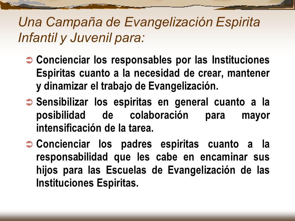 Concienciar los responsables por las Instituciones Espiritas cuanto a la necesidad de crear, mantener y dinamizar el trabajo de Evangelización. Sensib