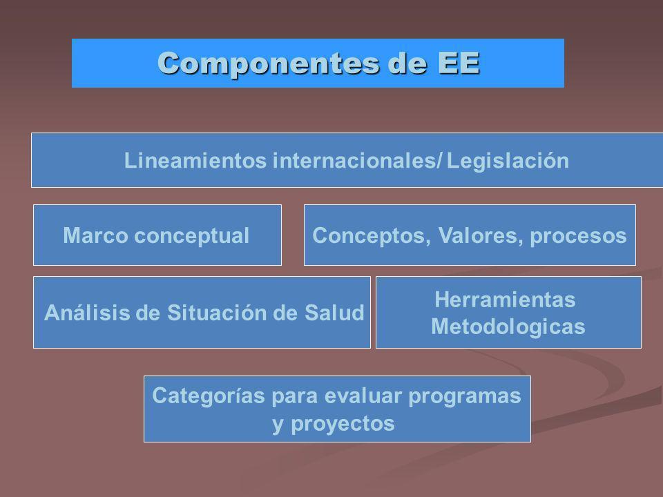 Componentes de EE Lineamientos internacionales/ Legislación Marco conceptualConceptos, Valores, procesos Análisis de Situación de Salud Categor í as p