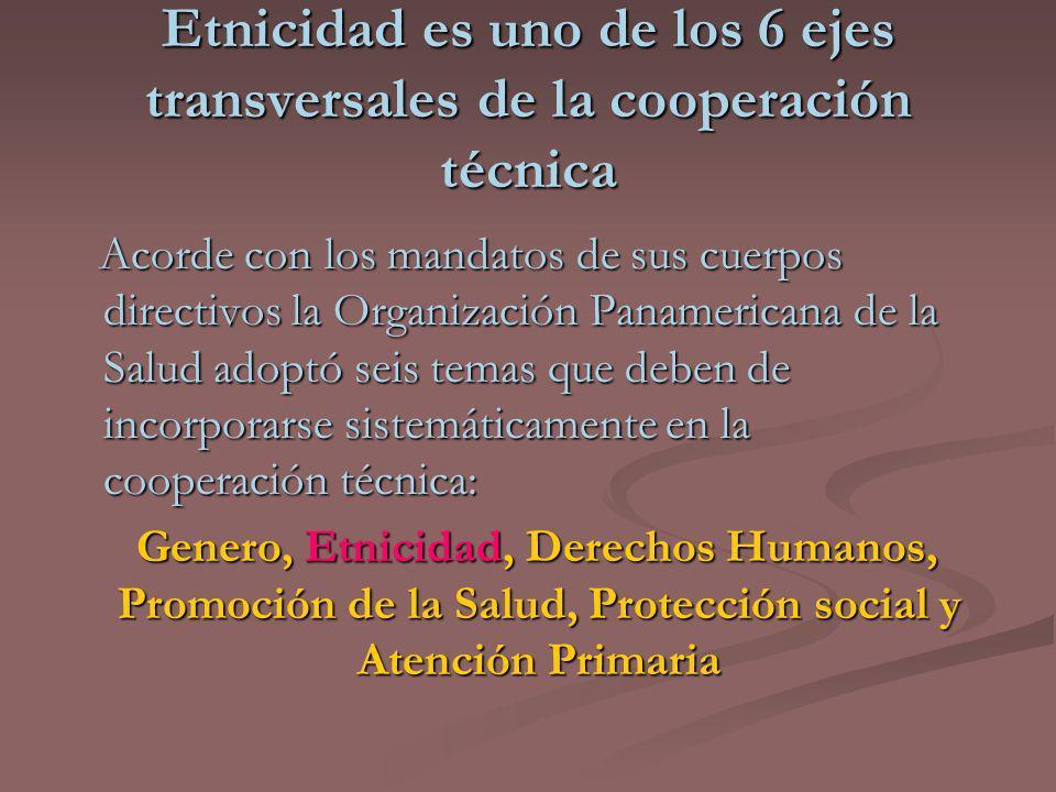Etnicidad es uno de los 6 ejes transversales de la cooperación técnica Acorde con los mandatos de sus cuerpos directivos la Organización Panamericana