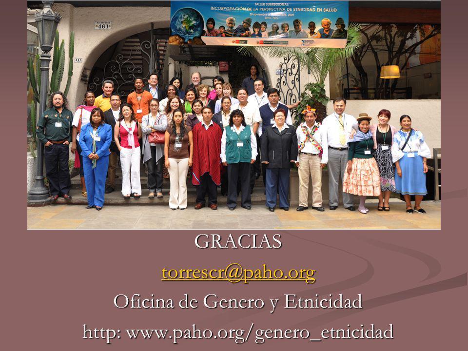 GRACIAS torrescr@paho.org Oficina de Genero y Etnicidad http: www.paho.org/genero_etnicidad