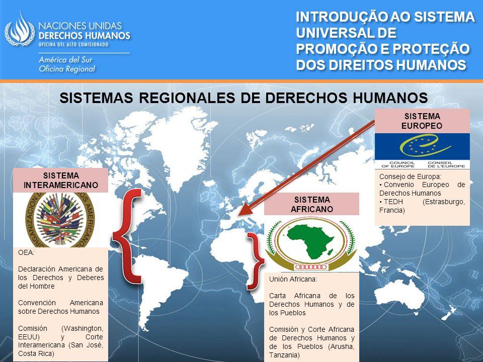 SISTEMAS REGIONALES DE DERECHOS HUMANOS SISTEMA INTERAMERICANO OEA: Declaración Americana de los Derechos y Deberes del Hombre Convención Americana so