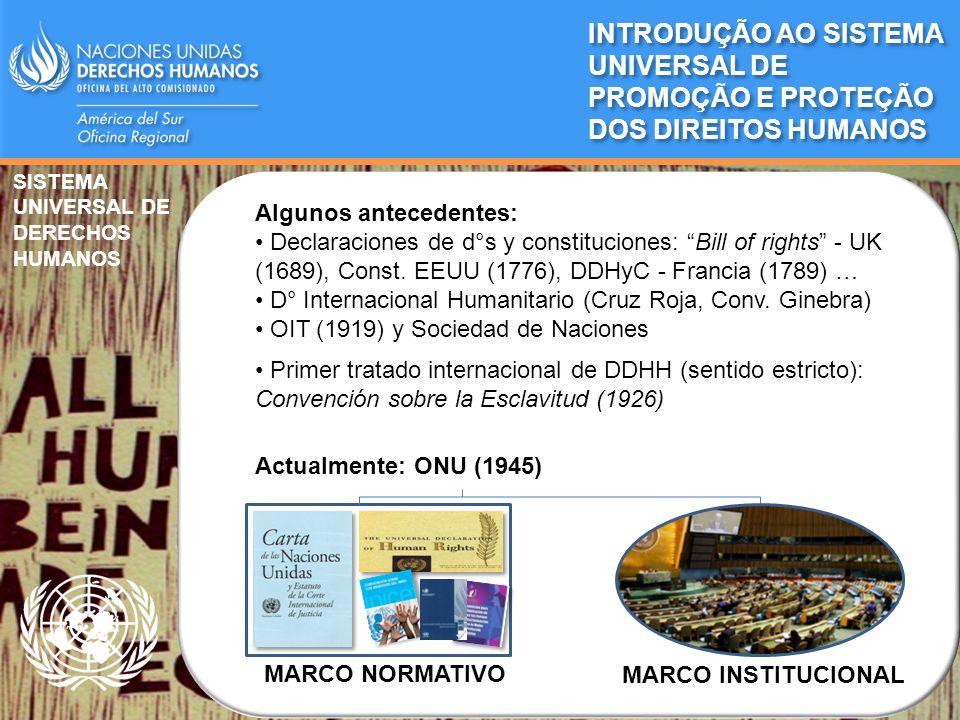 MARCO NORMATIVO MARCO INSTITUCIONAL SISTEMA UNIVERSAL DE DERECHOS HUMANOS Algunos antecedentes: Declaraciones de d°s y constituciones: Bill of rights
