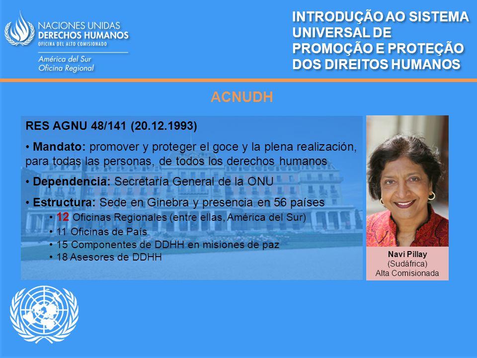 ACNUDH RES AGNU 48/141 (20.12.1993) Mandato: promover y proteger el goce y la plena realización, para todas las personas, de todos los derechos humano