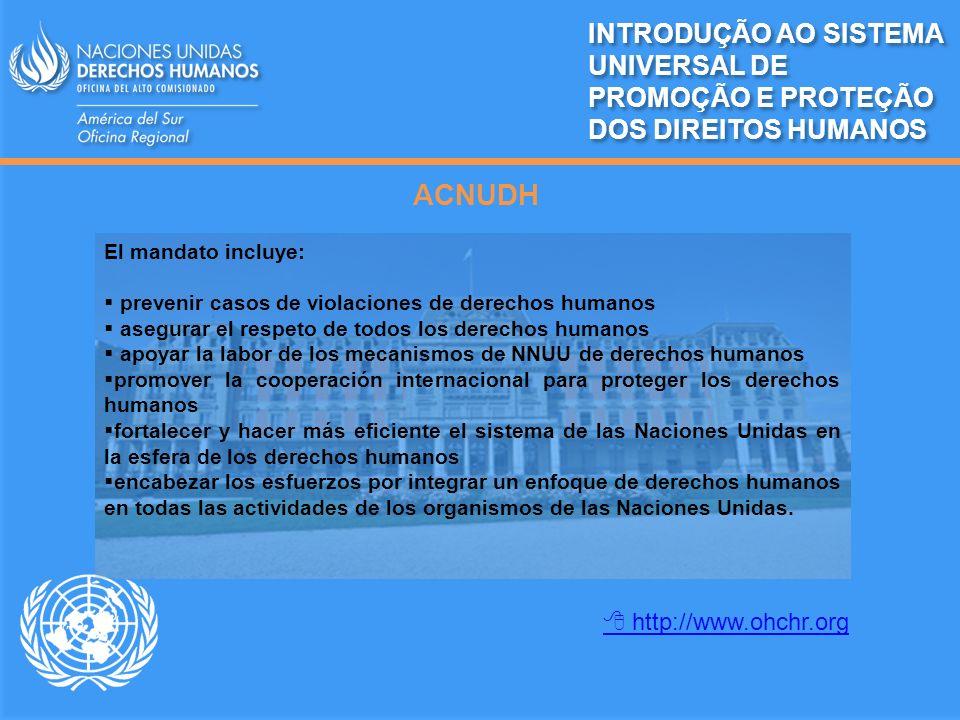 ACNUDH El mandato incluye: prevenir casos de violaciones de derechos humanos asegurar el respeto de todos los derechos humanos apoyar la labor de los