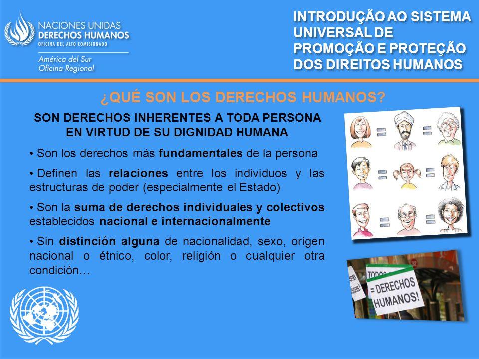CARACTERÍSTICAS DE LOS DERECHOS HUMANOS INTRODUÇÃO AO SISTEMA UNIVERSAL DE PROMOÇÃO E PROTEÇÃO DOS DIREITOS HUMANOS Inherentes a todos los seres humanos Universales Interrelacionados, interdependientes e indivisibles Inalienables Igualdad y no discriminación en su aplicación Reconocidos por el derecho nacional y el derecho internacional SON DERECHOS Y OBLIGACIONES