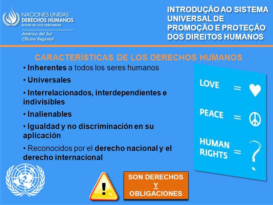 CARACTERÍSTICAS DE LOS DERECHOS HUMANOS INTRODUÇÃO AO SISTEMA UNIVERSAL DE PROMOÇÃO E PROTEÇÃO DOS DIREITOS HUMANOS Inherentes a todos los seres human