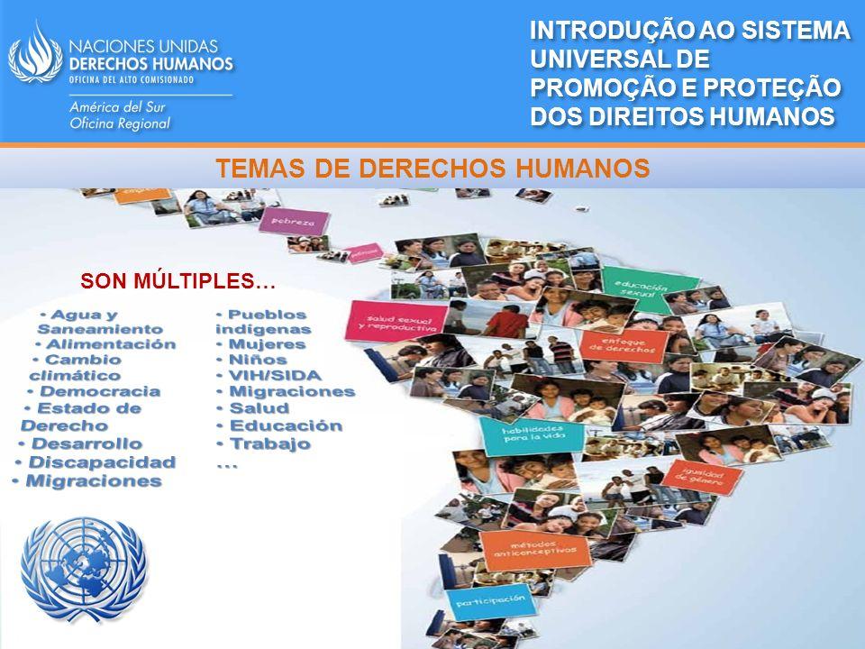 ACNUDH RES AGNU 48/141 (20.12.1993) Mandato: promover y proteger el goce y la plena realización, para todas las personas, de todos los derechos humanos Dependencia: Secretaría General de la ONU Estructura: Sede en Ginebra y presencia en 56 países 12 Oficinas Regionales (entre ellas, América del Sur) 11 Oficinas de País 15 Componentes de DDHH en misiones de paz 18 Asesores de DDHH INTRODUÇÃO AO SISTEMA UNIVERSAL DE PROMOÇÃO E PROTEÇÃO DOS DIREITOS HUMANOS Navi Pillay (Sudáfrica) Alta Comisionada