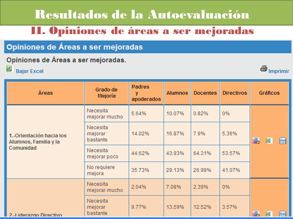 Resultados de la Autoevaluación II. Opiniones de áreas a ser mejoradas