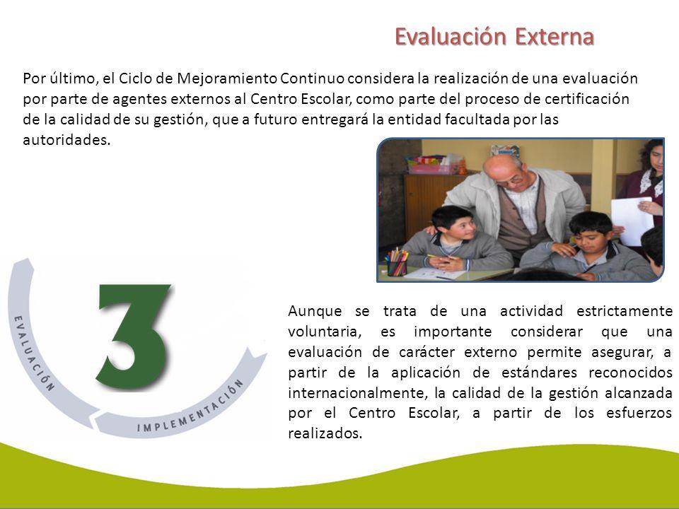 Por último, el Ciclo de Mejoramiento Continuo considera la realización de una evaluación por parte de agentes externos al Centro Escolar, como parte d