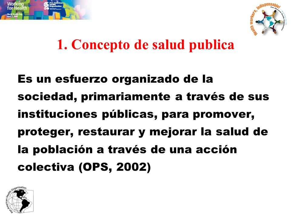 1. Concepto de salud publica Es un esfuerzo organizado de la sociedad, primariamente a través de sus instituciones públicas, para promover, proteger,
