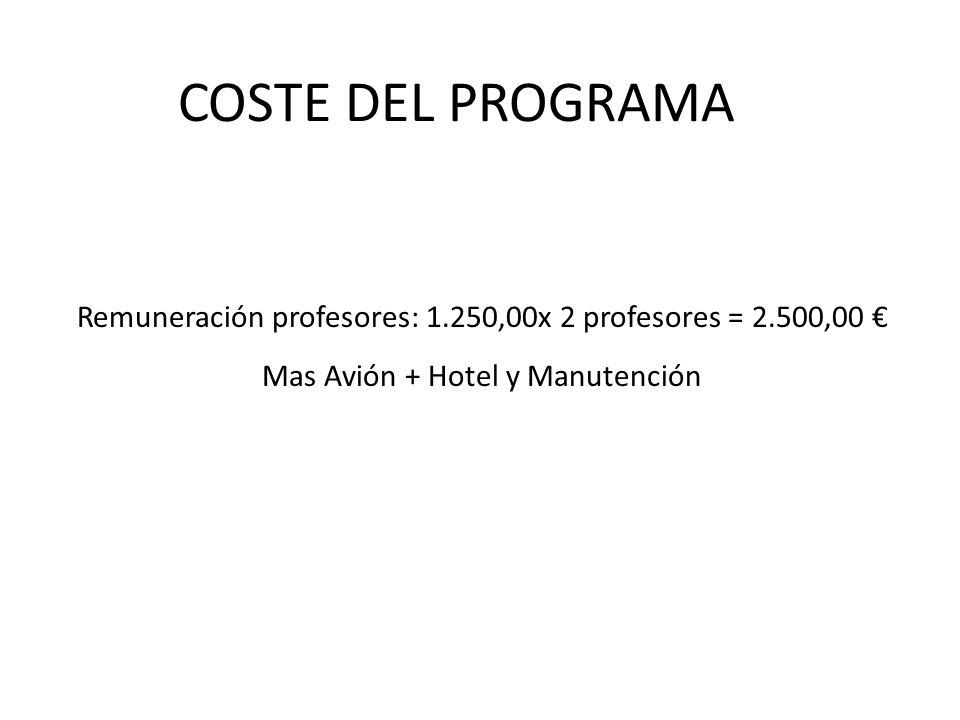 COSTE DEL PROGRAMA Remuneración profesores: 1.250,00x 2 profesores = 2.500,00 Mas Avión + Hotel y Manutención