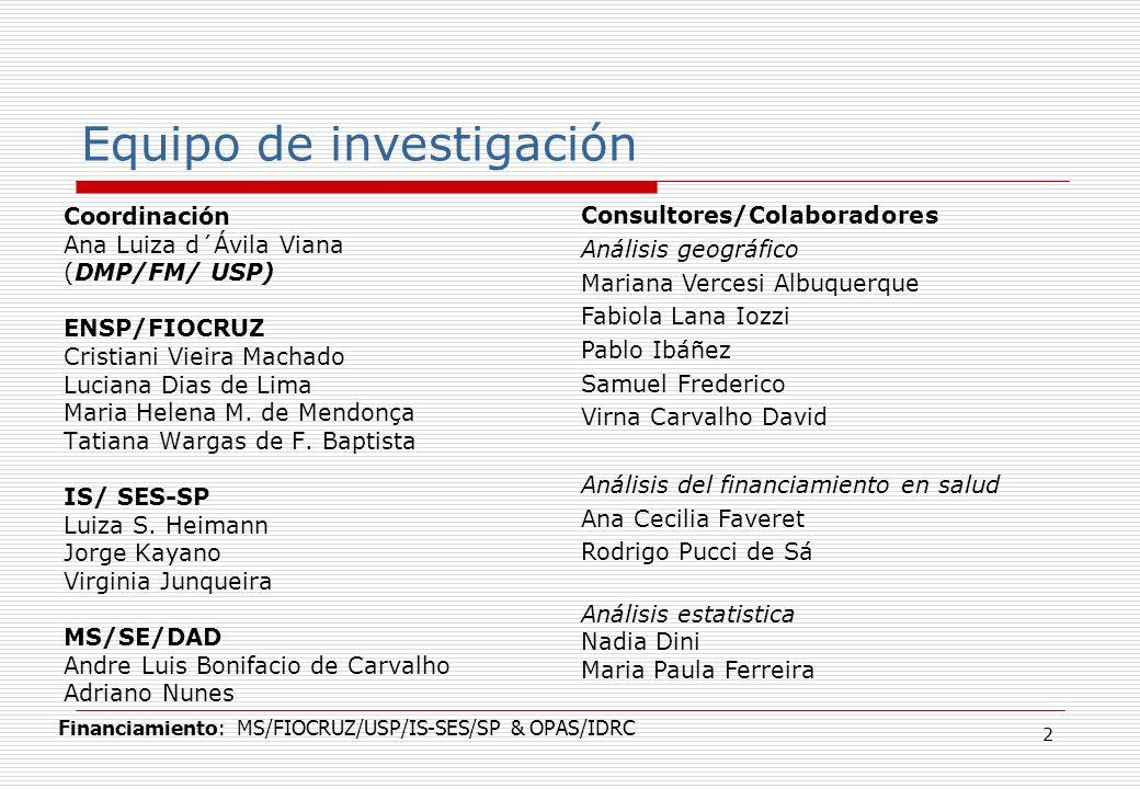 2 Coordinación Ana Luiza d´Ávila Viana (DMP/FM/ USP) ENSP/FIOCRUZ Cristiani Vieira Machado Luciana Dias de Lima Maria Helena M.