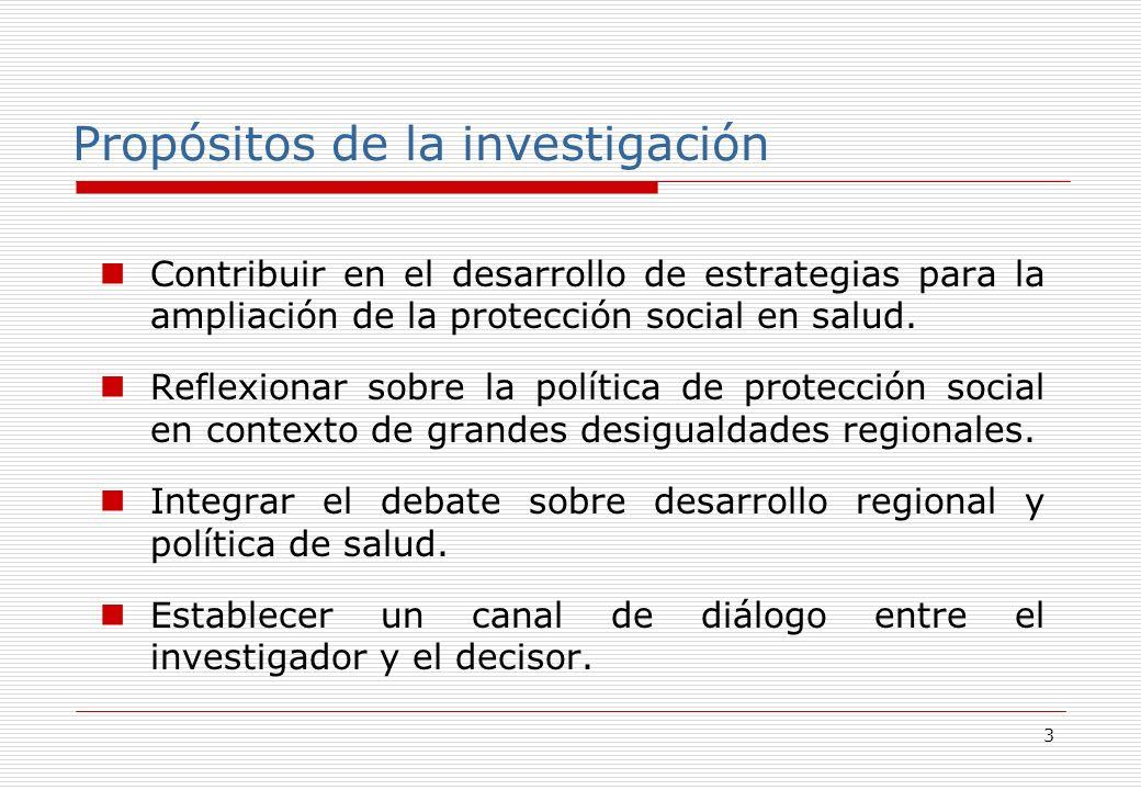 3 Propósitos de la investigación Contribuir en el desarrollo de estrategias para la ampliación de la protección social en salud.