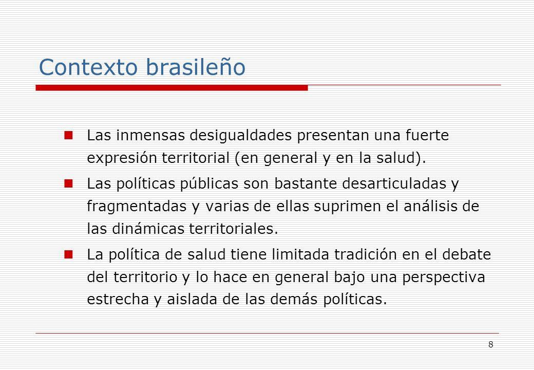 8 Contexto brasileño Las inmensas desigualdades presentan una fuerte expresión territorial (en general y en la salud).