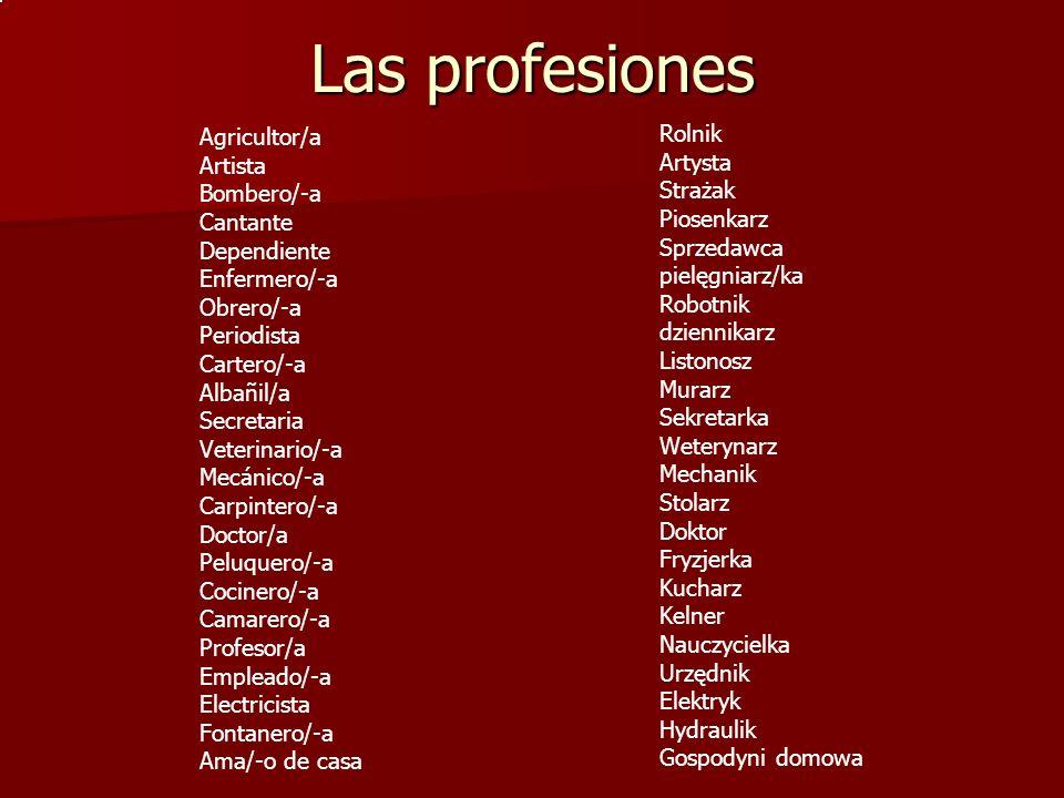 Las profesiones Agricultor/a Artista Bombero/-a Cantante Dependiente Enfermero/-a Obrero/-a Periodista Cartero/-a Albañil/a Secretaria Veterinario/-a