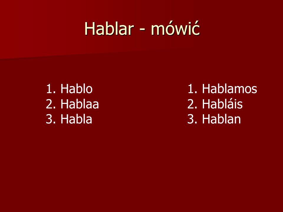 Hablar - mówić 1. Hablo1. Hablamos 2. Hablaa 2. Habláis 3. Habla3. Hablan