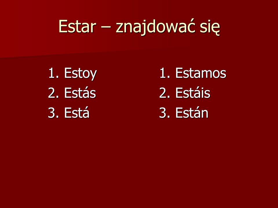 Estar – znajdować się 1. Estoy1. Estamos 2. Estás2. Estáis 3. Está3. Están