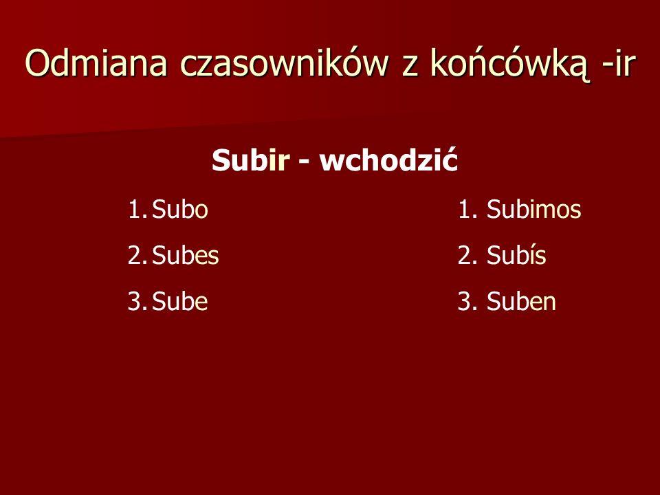 Odmiana czasowników z końcówką -ir Subir - wchodzić 1.Subo1. Subimos 2.Subes 2. Subís 3.Sube3. Suben