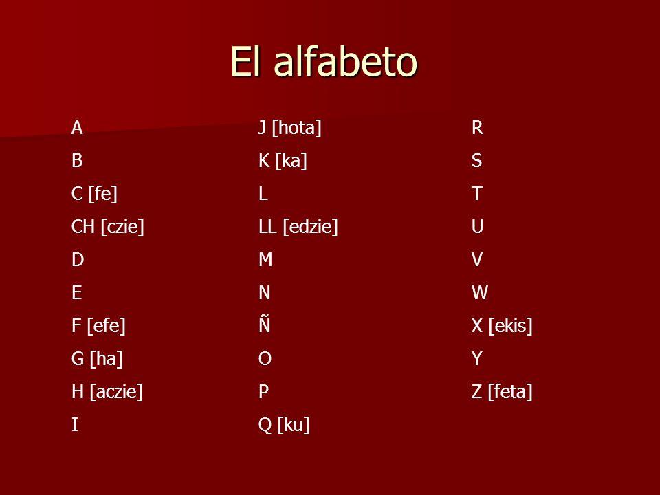 El alfabeto A B C [fe] CH [czie] D E F [efe] G [ha] H [aczie] I R S T U V W X [ekis] Y Z [feta] J [hota] K [ka] L LL [edzie] M N Ñ O P Q [ku]