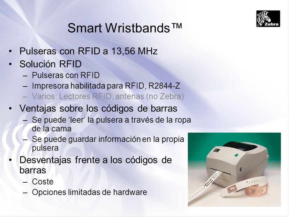 Smart Wristbands Pulseras con RFID a 13,56 MHz Solución RFID –Pulseras con RFID –Impresora habilitada para RFID, R2844-Z –Varios: Lectores RFID, anten