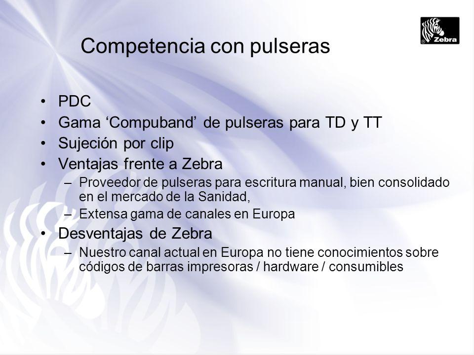 Competencia con pulseras PDC Gama Compuband de pulseras para TD y TT Sujeción por clip Ventajas frente a Zebra –Proveedor de pulseras para escritura m