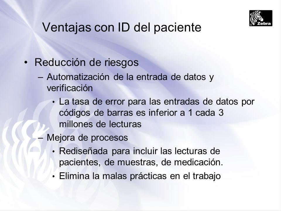 Ventajas con ID del paciente Reducción de riesgos –Automatización de la entrada de datos y verificación La tasa de error para las entradas de datos po