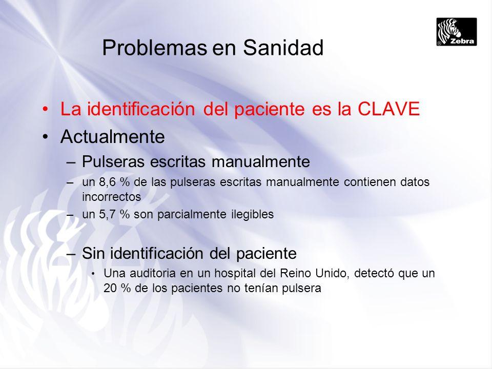 Problemas en Sanidad La identificación del paciente es la CLAVE Actualmente –Pulseras escritas manualmente –un 8,6 % de las pulseras escritas manualme