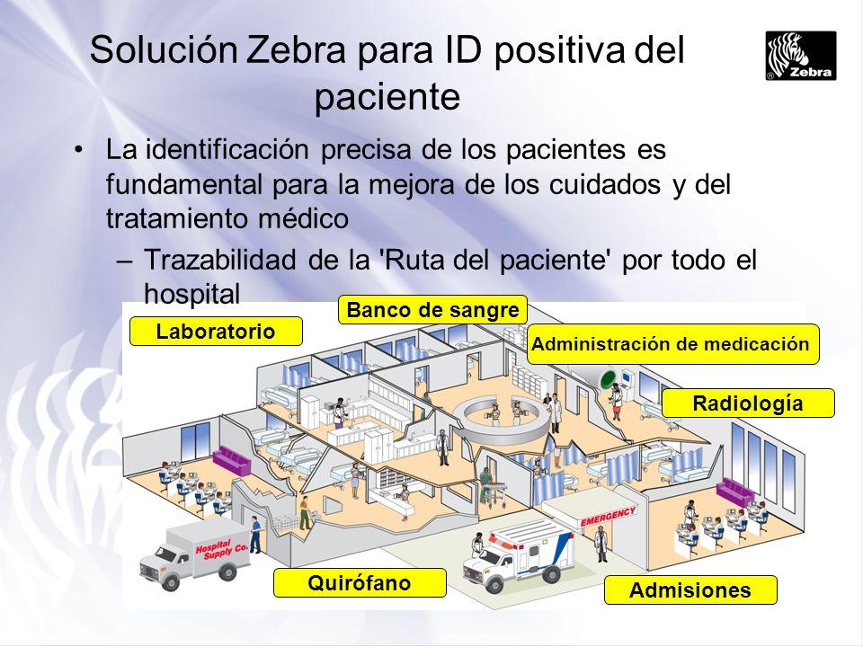 Admisiones Radiología Administración de medicación Quirófano Laboratorio Banco de sangre Solución Zebra para ID positiva del paciente La identificació
