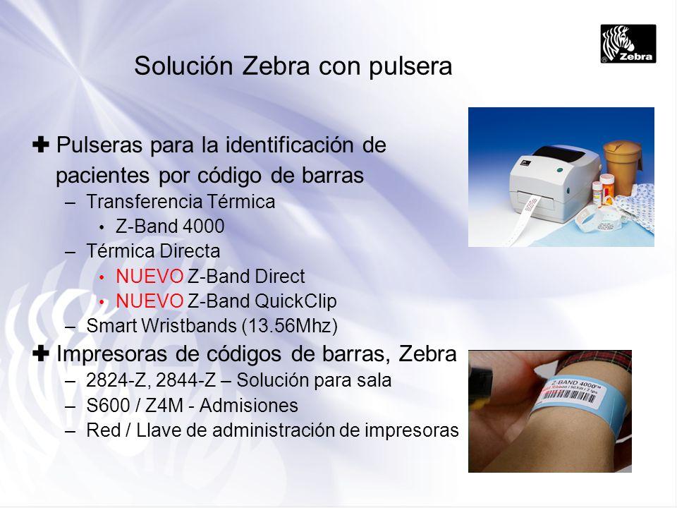 Ventajas para la ID del paciente La pulsera puede incluir texto y código de barras (incluso RFID) –Nombre del paciente: –Número ID del paciente (para ref EPR) –Tipo de sangre –Alergias –Médicos primarios Colores preimpresos, para ayuda visual