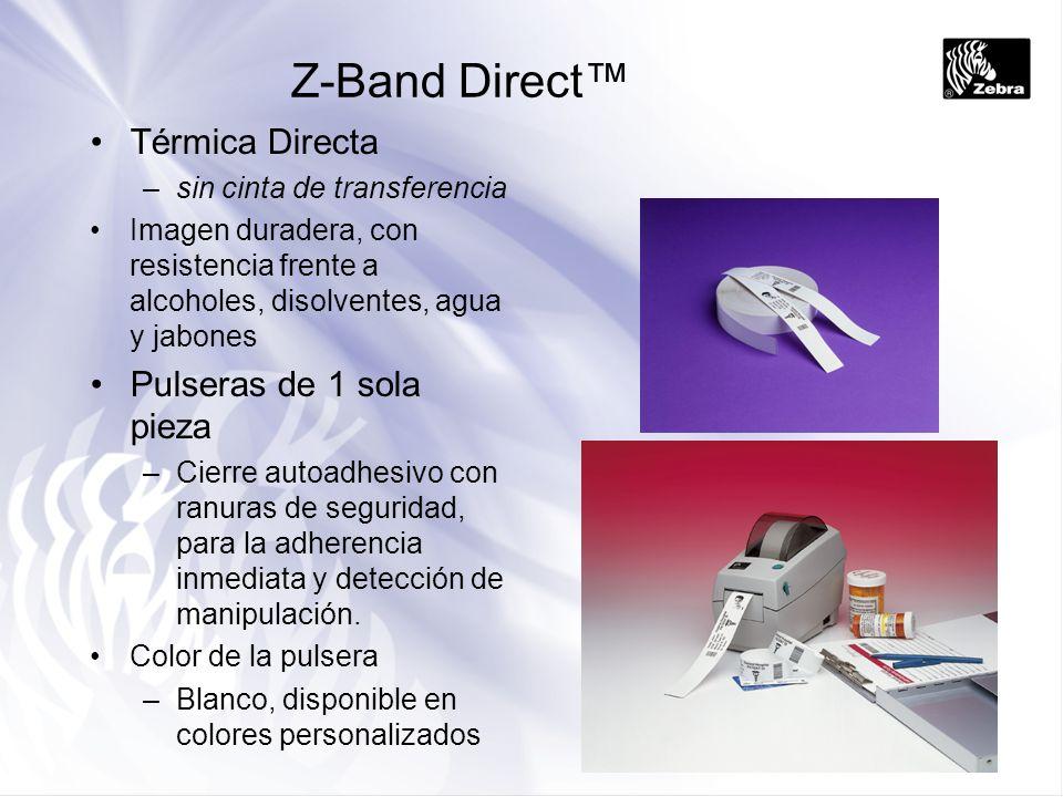 Z-Band Direct Térmica Directa –sin cinta de transferencia Imagen duradera, con resistencia frente a alcoholes, disolventes, agua y jabones Pulseras de